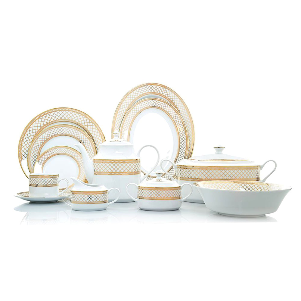 Dankotuwa Aldina Dinner Set - White and Gold, 59 Piece - ALDGLD-59DS
