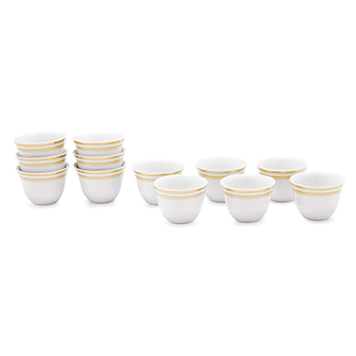 Dankotuwa Roxie Gold Cawa Cup - White and Gold, Set of 12 - ROXPLT-182