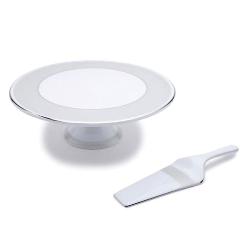 Dankotuwa Silver Mix Cake Stand with Cake Server - White and Silver - CAKE S