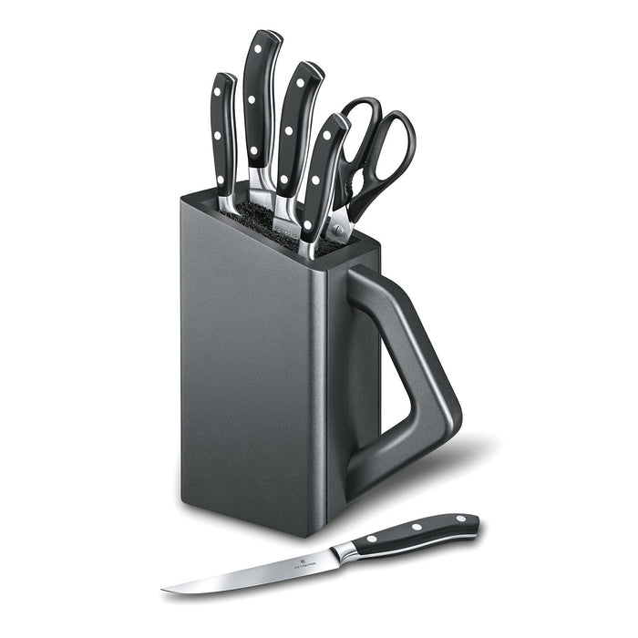 Victorinox Grand Maitre Knife with Cutlery Block Set - Anthracite - 7.7243.6