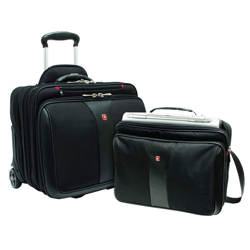 Wenger Patriot Rolling 2 Piece Business Trolley Bag Set - Black - 600662