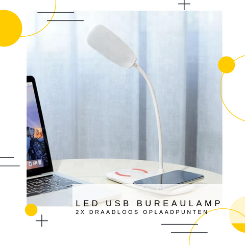 Image of USB LED BUREAULAMP | 2x QI Charge Points