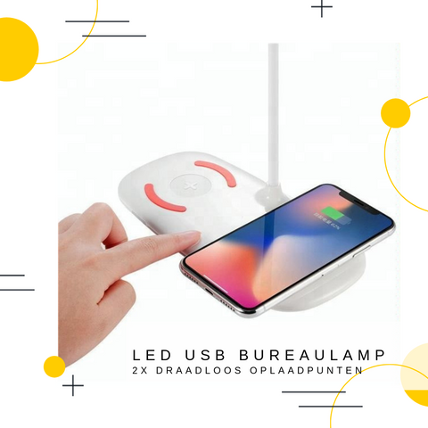 USB LED BUREAULAMP | 2x QI Charge Points