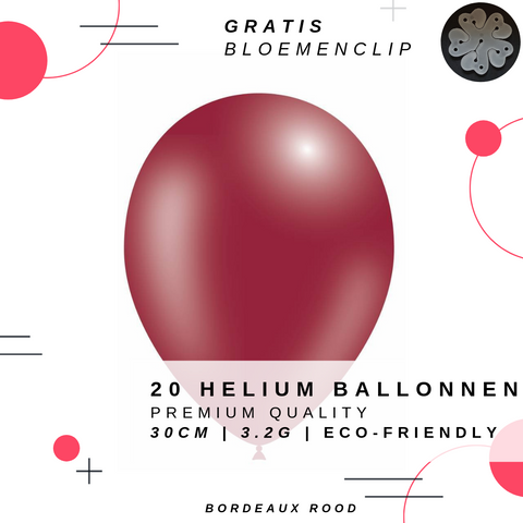 Image of 20 Bordeaux Rode Helium Ballonnen