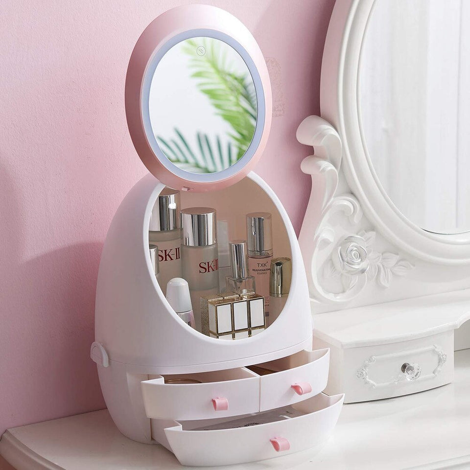 LED HD Mirror Makeup Storage Box Cosmetic Organizer Case for $79.95