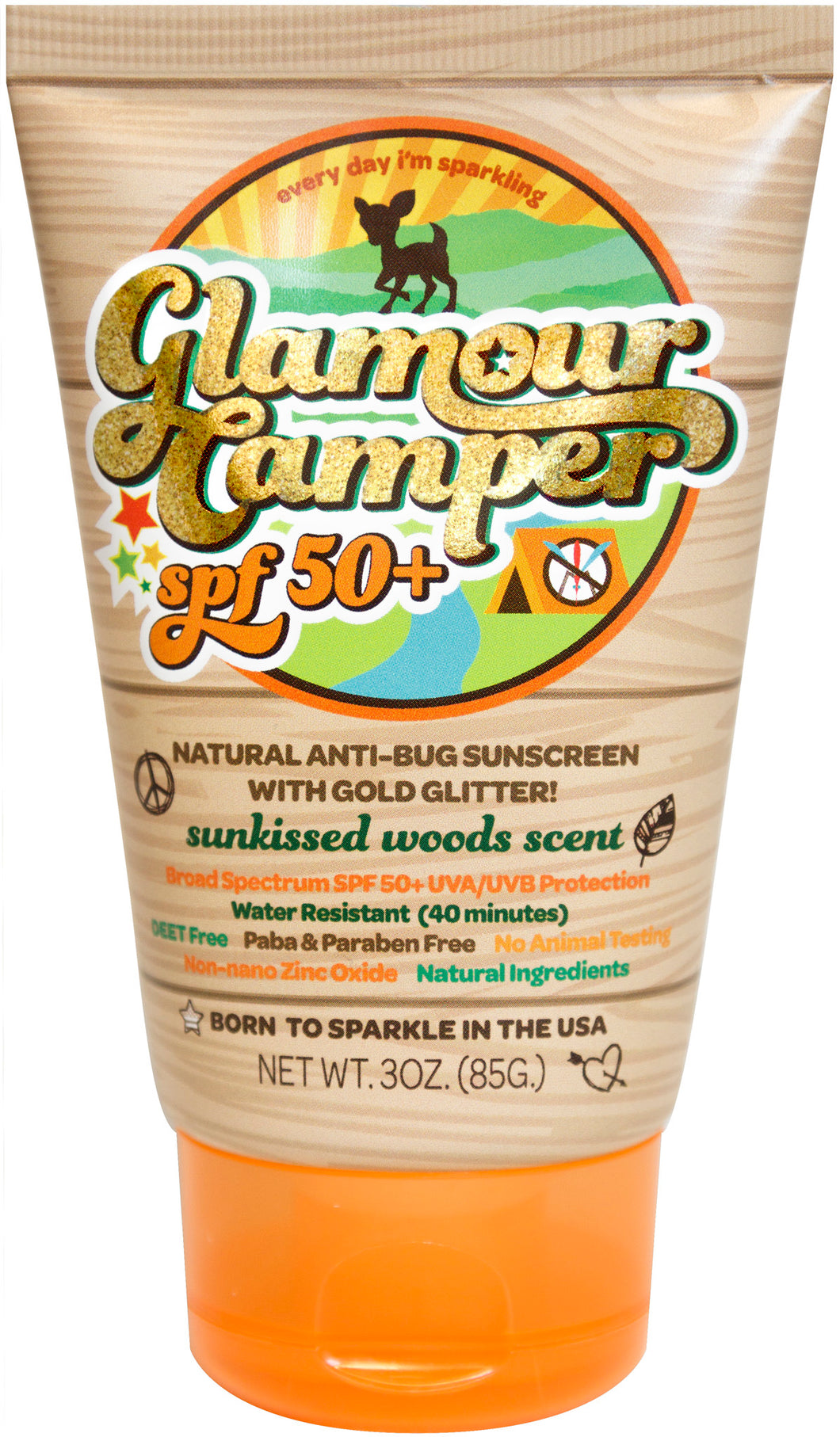 Glamour Camper SPF 50+ All Natural Sunscreen with All Natural Bug Deterrent & Glitter
