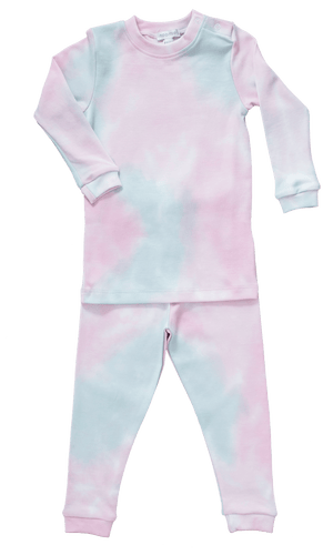 Two Piece  Pima Cotton Pink Tie Dye Pajamas