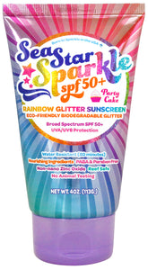 SeaStar Sparkle SPF50+ Party Cake with Rainbow Reef Safe Bio-Degradable Glitter