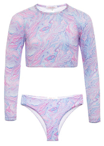 Tie Dye Swirl Rash Guard Suit