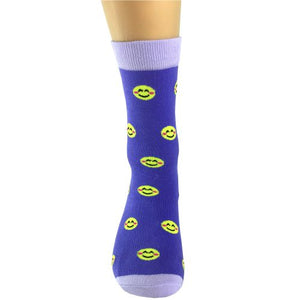 Purple Hybrid yellow Smiley Socks