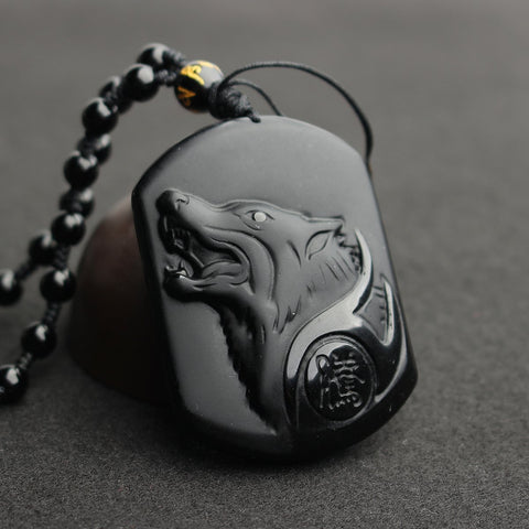 BlackObsidian™ Luxury Healing Wolf Head Necklace Pendants