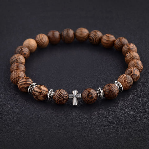 Natural Wood Beads Cross Bracelet