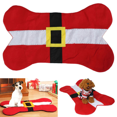 Christmas Bone Shape Dog Pet Cushion Carpet Mat Pad Festival Party Home Decor