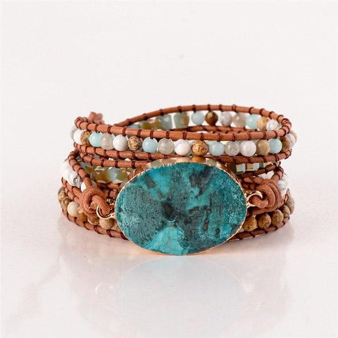 OceanStone™ Luxury Leather Wrap Beaded Bracelet