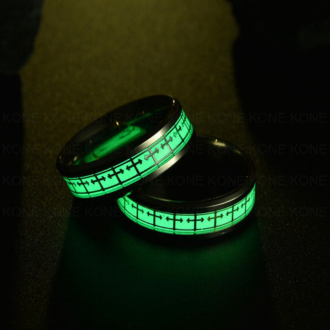 UZone Luminous Fluorescent Glowing in Dark Stainless Steel Ring Lord of Ring Hexagram Cross Jesus Helm Male Ring Fashion Jewelry