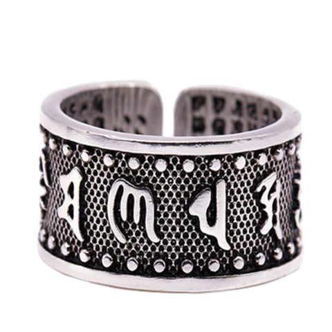 Buddhism Six Words Of Mantra Ring