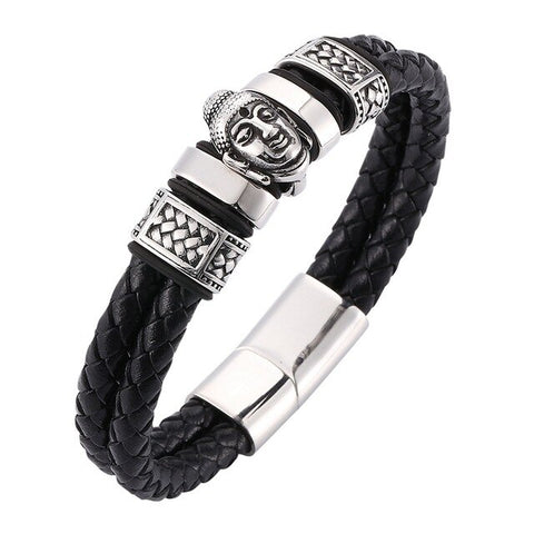 Men Leather Bracelet & Lucky Buddha Bangle