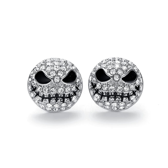 Jack Silver Circle Small Earrings Nightmare Before Christmas Cartoon Gothic Jewelry Women Crystals Skull Stud Earrings