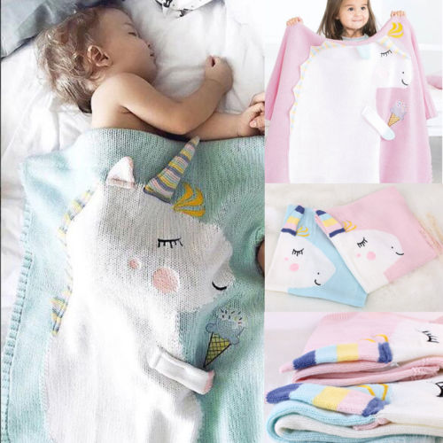 2019 Newborn Baby Soft Muslin Unicorn Blanket Bedding Unicorn Wrap Swaddle Blanket Bath Cute Towel
