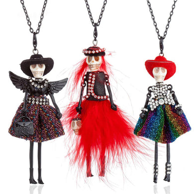 Rhinestone Fur Dress Skull Head Doll Pendant Necklace Black Long Chain Choker Collares For Women Halloween Maxi Jewelry