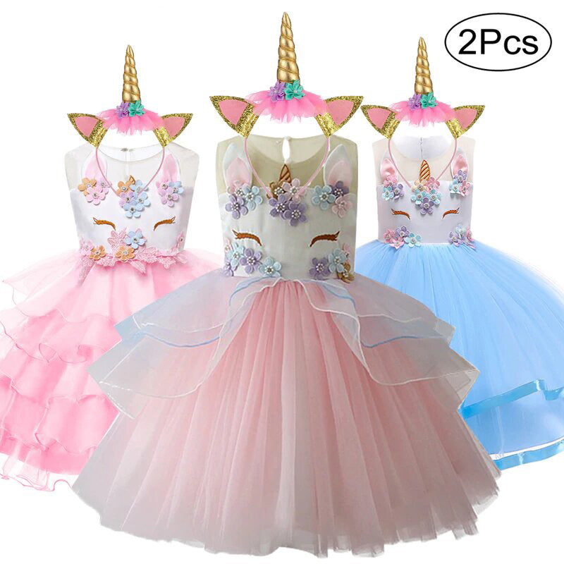e3a1db353e724 Baby Girl Unicorn Costume Pageant Flower Princess Party Dress with Headband