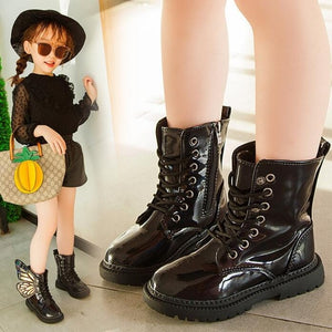 2019 New Winter Child Shoes PU Leather Waterproof Wing Martin Boots Kids Snow Boots Brand Girls Boys High Boots Fashion Sneakers