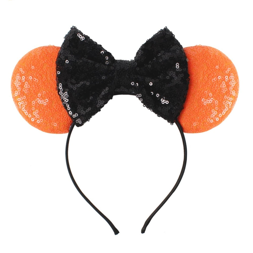 "Minnie Mouse Ears Headband 3.3"" wholesale Halloween Festival Glitter Sequins Bows Minnie Kids Hair Accessories Hairband Boutique"