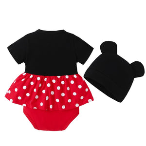 Baby Cute Short-Sleeved Triangle Romper Cotton Jumpsuit Style Headband Overalls Set Baby Clothes for Girls Boys