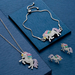 3 Pack Unicorn Jewelry Set, Include Rainbow Rhinestone Crystal Necklace, Bracelet, Earring for Girls Gift Set