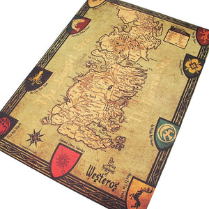 GOT Westeros Map Retro Kraft Paper Poster Interior Bar Cafe Decorative Painting Wall Sticker 16.53X11.73 Inch