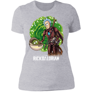 rickdalorian and baby morty yoda NL3900 Next Level Ladies' Boyfriend T-Shirt