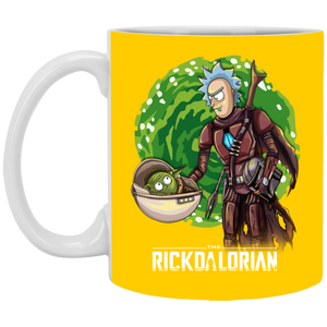 rickdalorian and baby morty yoda XP8434 11 oz. White Mug