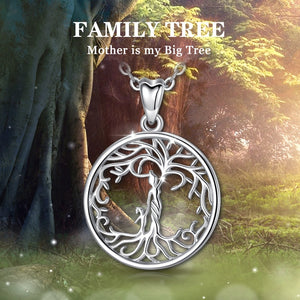 Sterling Silver Tree of Life Necklace Gift for Mom Gift for Grandma Gift for Woman Delicate Chain with box