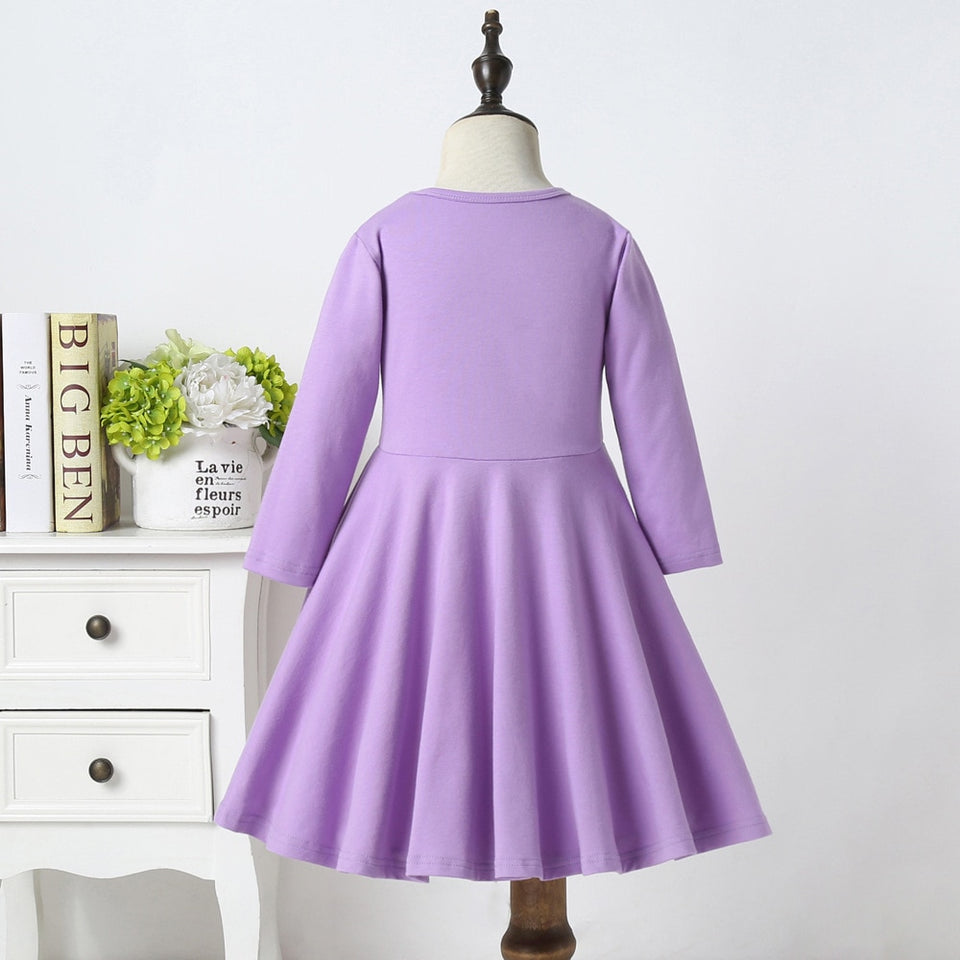 New Rainbow Unicorn Long Sleeve Princess Dress For Girls Dress Back To School Dress Patchwork Dress Fall Purple Autumn