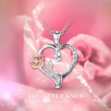 Sterling Silver Rose gold Rose Pendant Necklace I Love You Heart Necklaces Cubic Zirconia Fashion Jewelry For Women with box