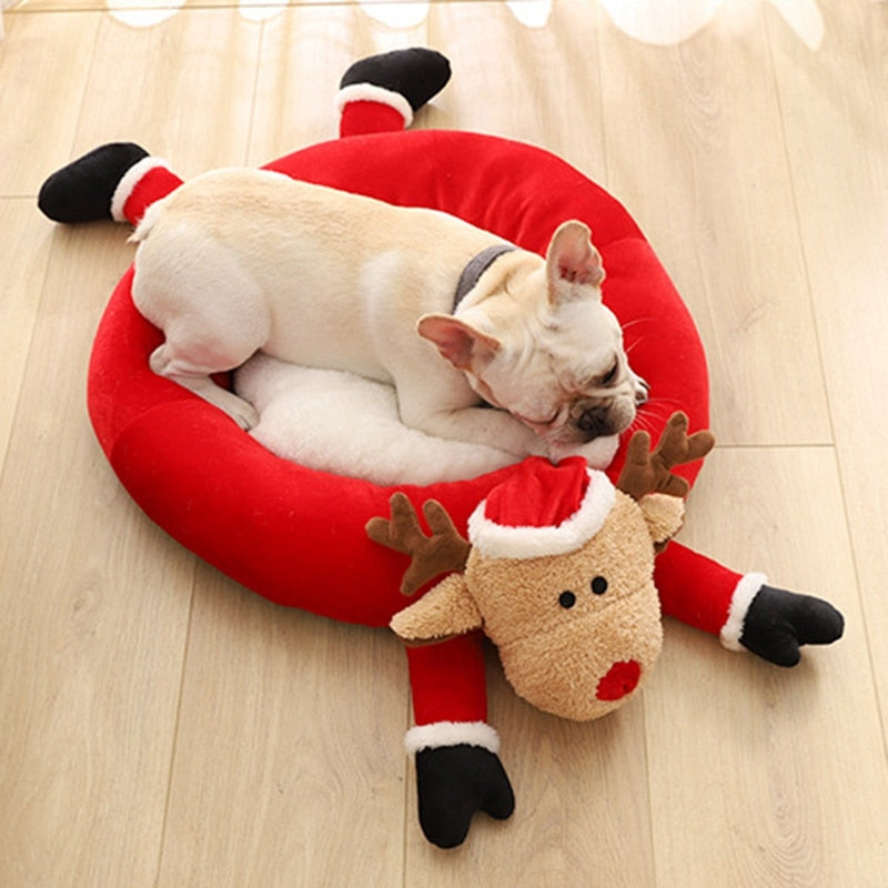 Christmas Style Pet Nest Winter Warm Kennel Cat Litter Pet Sofa Pet Mat