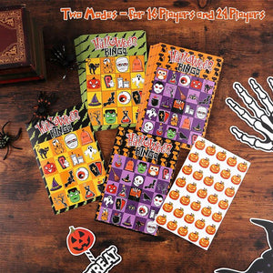 57 Sheets Halloween Bingo Game Set Cartoon Games Cards for Kids Children