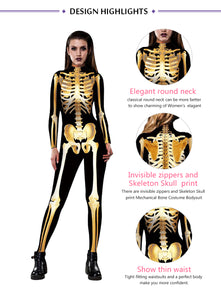 Gold Mechanical Bone Skull Costume Women Halloween Outfit Skeleton Costumes Plus Size Jumpsuit Scary Bodysuit