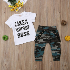 Boy Set 0-3Y AU Toddler Kids Baby Boy Cute Outfits Short Sleeve T-Shirt Top+Pants Clothes Set