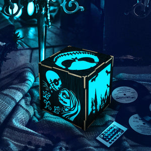 1Piece Nightmare Before Christmas LED Lantern Skeleton Jack And Sally LED Night Light Wooden Table Light Box For Halloween Gift