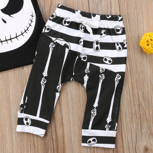 New Halloween Skull Clothes Set Baby Boy Cotton T-shirt Top Harem Pant Black&White Infant Outfit Children Tracksuit Set