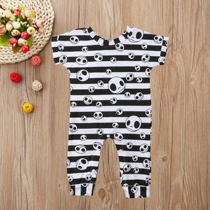 Halloween Newborn Infant Baby Girl Boy Clothes Toddler Striped Skull Romper Jumpsuit Clothes roupas de bebe