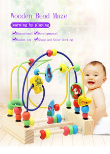Wooden Math Toy Counting Circles Bead Abacus Wire Maze Roller Coaster Montessori Educational for Baby Kids