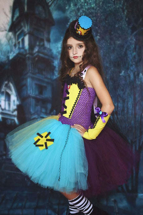 Children Ragdoll Tutu Dress Kids Nightmare Before Christmas Sally Halloween Costumes for Girls Carnival Birthday Party Dresses