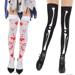 Knee High Halloween Socks Black skeleton halloween Socks Gloves Horror Party women's Halloween costumes Thigh High Socks