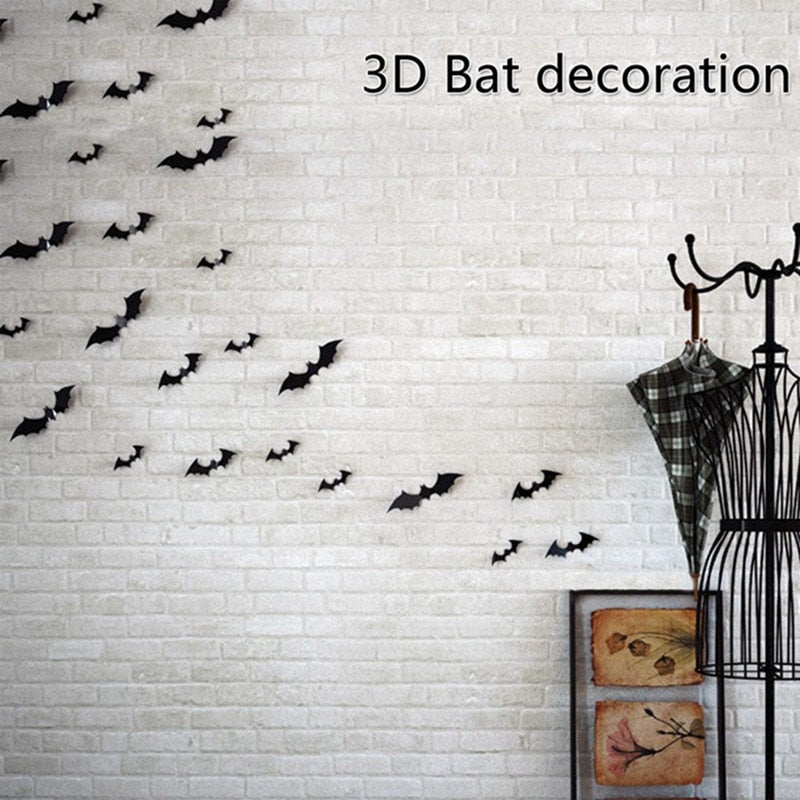 12Pcs/set Halloween Decoration 3D Black PVC Bat DIY Decor Wall Sticker Halloween Party Bar Decals Scary Halloween Party