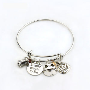 "Nightmare Before Christmas Bangle ""Simply meant to be""Jack and Sally Bracelet Love Gift for Lovers"