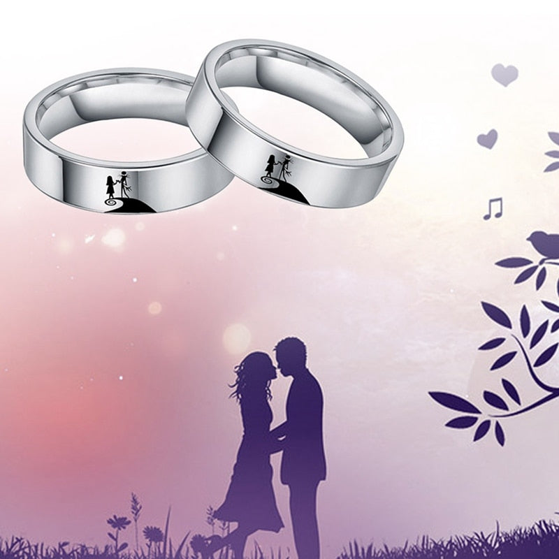 The Nightmare Before Christmas Ring Jack And Sally Ring For Women Couple Titanium Rings Charm Jewelry Accessories Christmas Gift