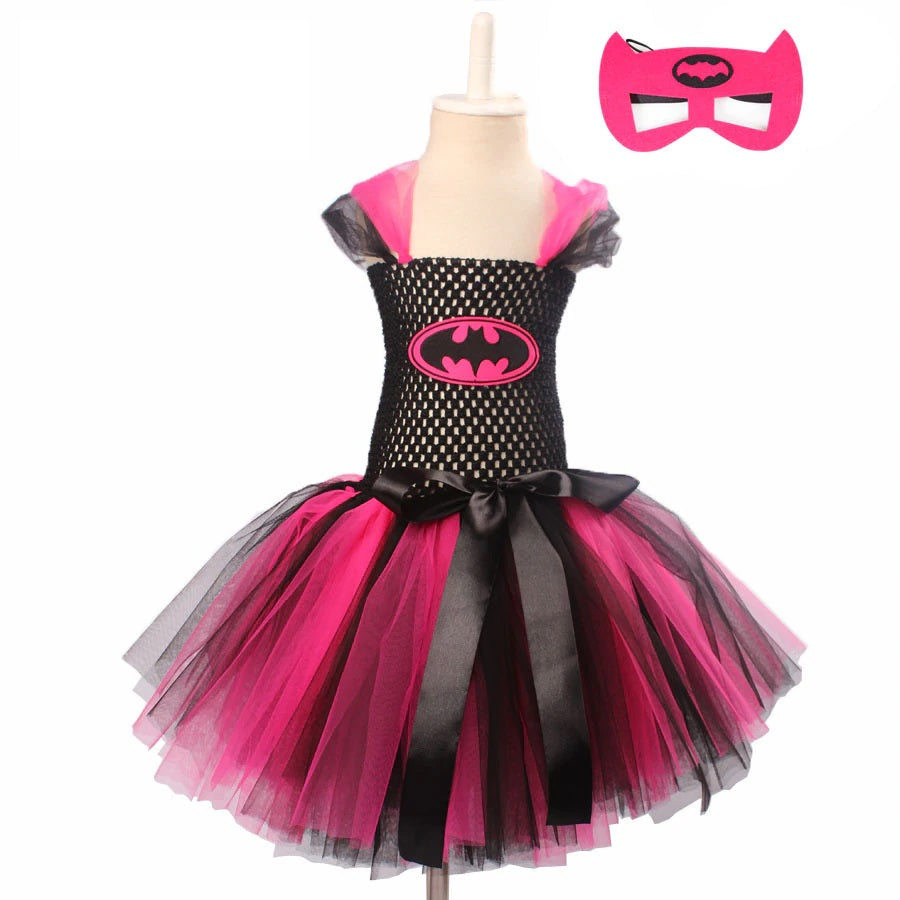 Super Cute Super Hero Tutu Costume Hot Pink Girls Tutu Dress with Mask for Cosplay Party Halloween Dresses Clothes