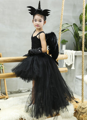 Unicorn Black Angel Tutu Dress Before Short After Long Tulle Girl Dress Tail Kids Pageant Evening Party Dress Girls Halloween Costume